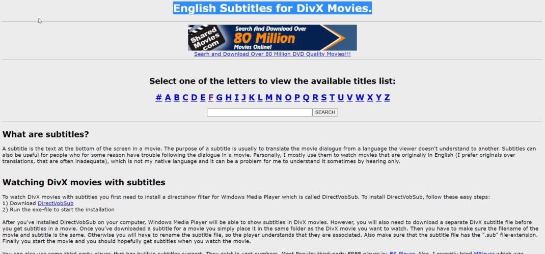 English Subtitles for DivX Movies