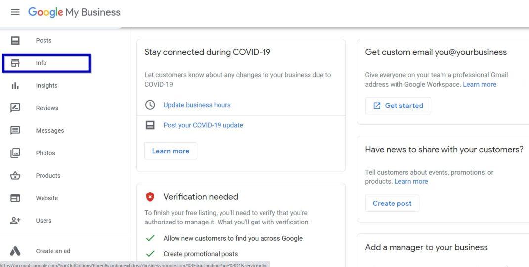 Info On Google My Business