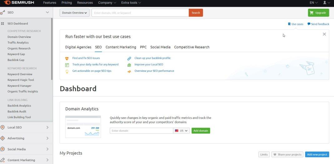 Semrush checking domain authority