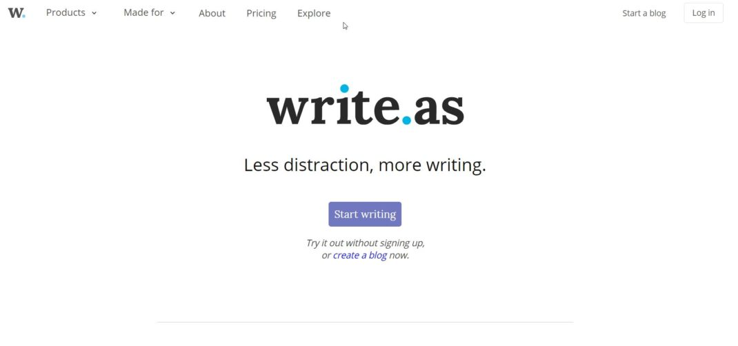 Write.as — A place for focused writing.