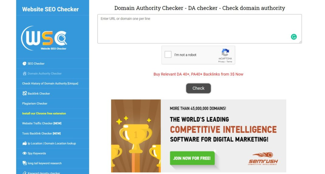 website seo checker Domain Authority Checker